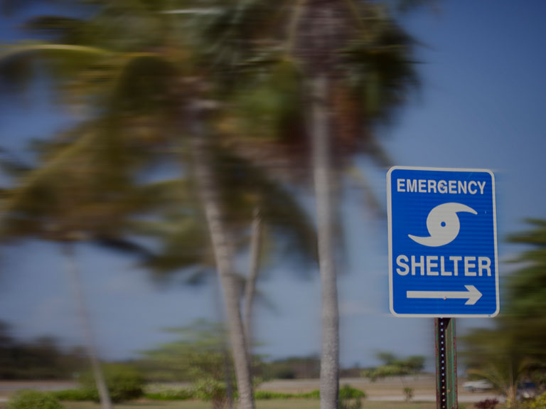 An emergency shelter sign