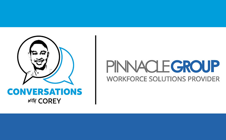AT&T's Conversations with Corey logo alongside the logo for Pinnacle Group Workforce Solutions Provider